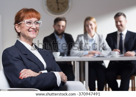 Mature woman applying for a job in corporation