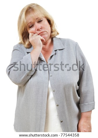 Mature woman falling asleep standing up - stock photo