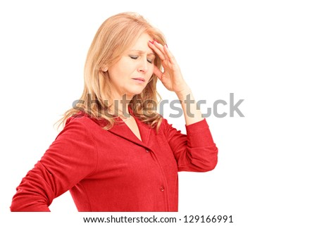 Mature woman having a headache isolated on white background - stock photo