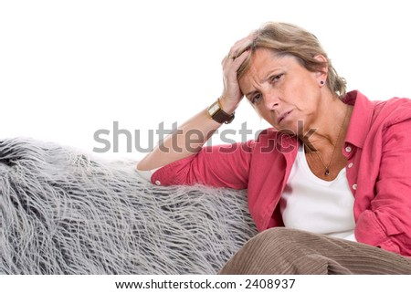Mature woman having headache, isolated on white