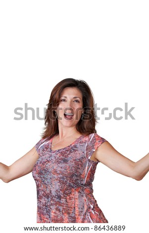 Mature woman holding out her arms. - stock photo