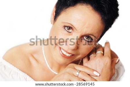 Mature woman in wedding look