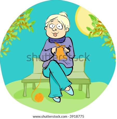 Mature woman knitting on a bench, having fun outdoors (Vector)