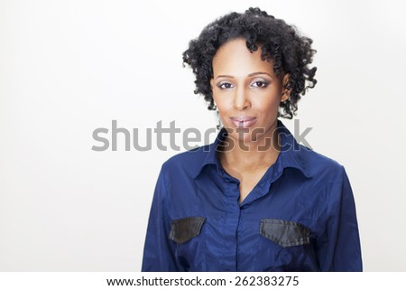 Mature Woman Looking At The Camera Isolated On White - stock photo