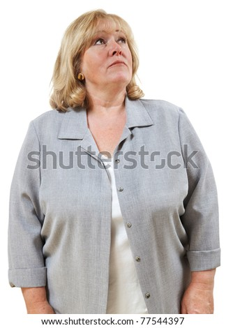 Mature woman looking up to her left