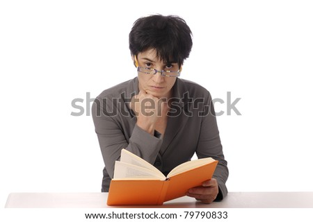 mature woman reading a book. isolated on white background - stock photo