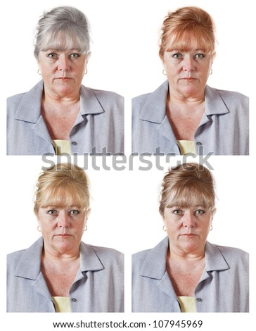 Mature woman's red, blond or brown hair color choices - or go gray - stock photo