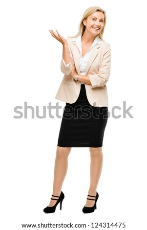 Mature woman smiling isolated on white background