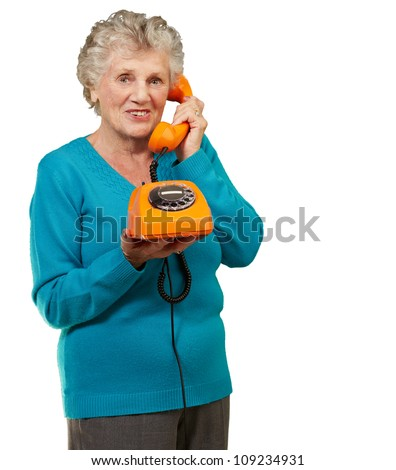 Mature Woman, Talking On Telephone On White Background - stock photo