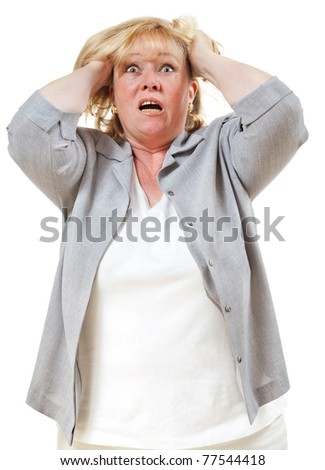 Mature woman tears hear in frustration - stock photo