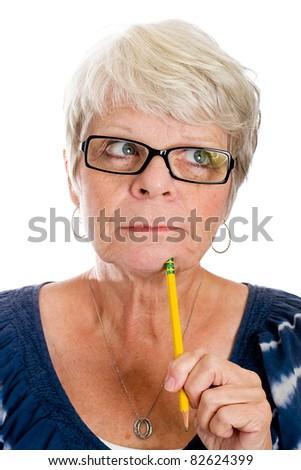Mature woman thinking. - stock photo