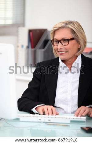 mature, woman,  typing