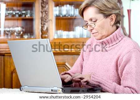 Mature woman typing on a notebook computer - stock photo