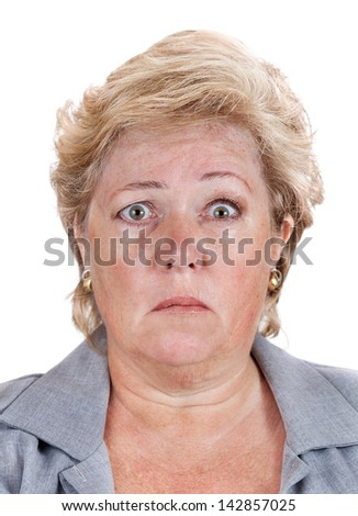 Mature woman with Bell's Palsy unable to move the right half of her face - stock photo