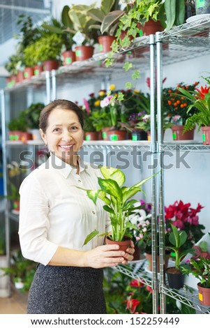 mature woman with Dieffenbachia plant in flower store