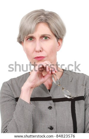 Mature woman with glasses - stock photo