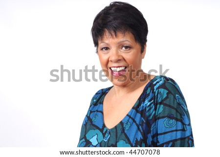 mature woman with happy smile on her face - stock photo