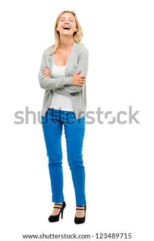 Mature woman with real body happy isolated on white background