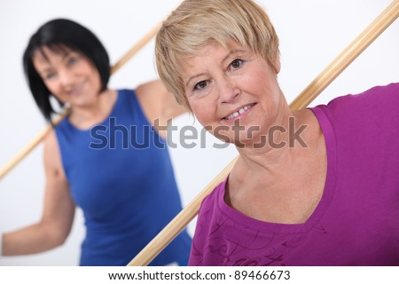 Mature women working out - stock photo
