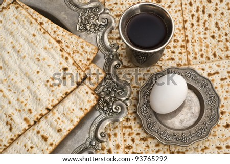 Matza bread for passover celebration and red wine