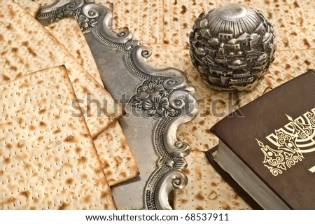 Matza bread for passover celebration on silver dish - stock photo