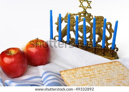 Matza - Jewish national and religious meal on a white background. - stock photo
