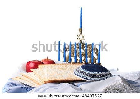 Matza - Jewish national and religious meal with Tallith katan. - stock photo
