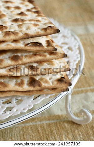 Matzah crackers traditionally eaten during the Passover holiday - stock photo