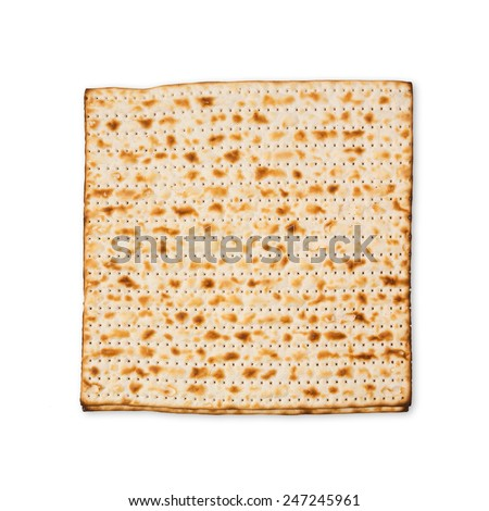 Matzo for passover holiday isolated on white background