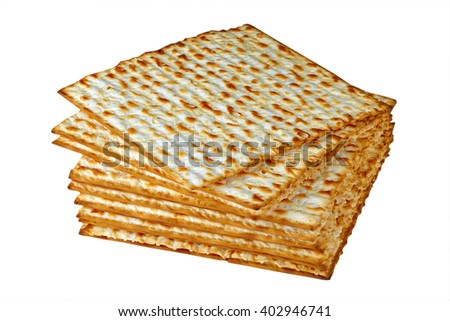 Matzo for pesach pile isolated on white background - stock photo