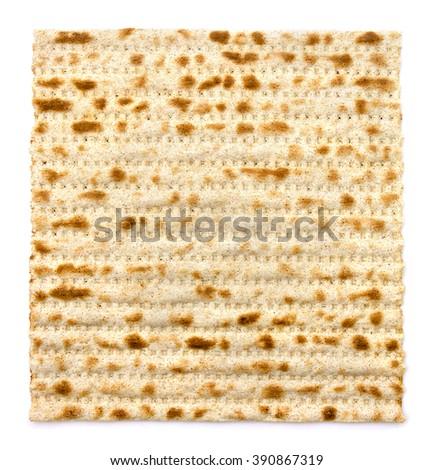Matzo on white background - stock photo