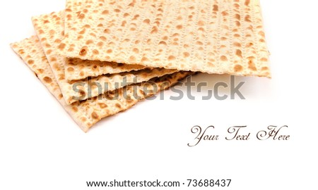 Matzo on white, background with place for text. - stock photo