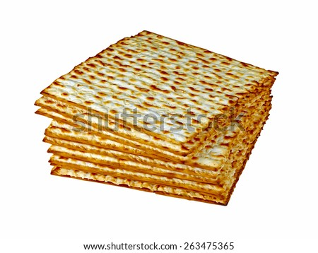 Matzo (or matzah) is bread traditionally eaten by Jews during the week-long Passover holiday - stock photo