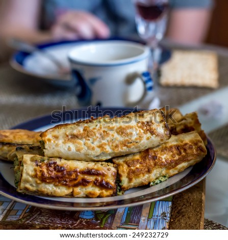 Matzo  pancakes  for Jewish Passover celebration. - stock photo