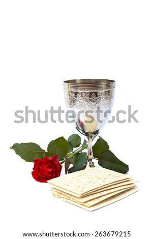Matzo, wine, red rose for passover celebration - stock photo