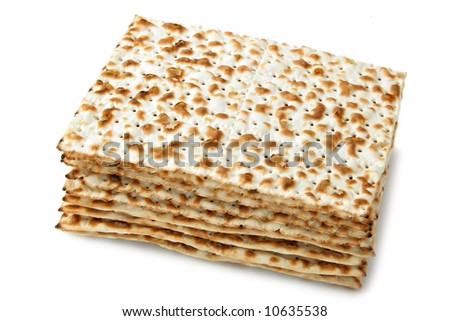 Matzos -  jewish passover bread isolated over white background - stock photo