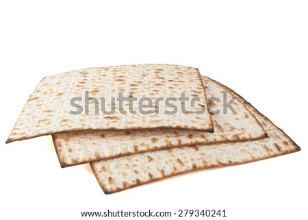 Matzot for pesach pile isolated on white background - stock photo