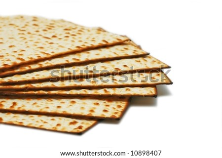 Matzot -symbol of Passover, isolated over white background - stock photo