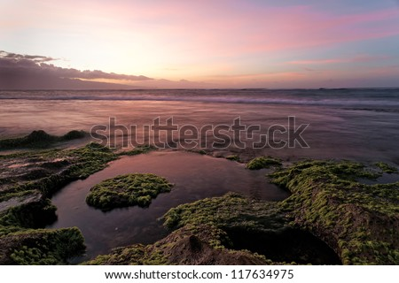 Maui at sunset, Hawai'i. - stock photo