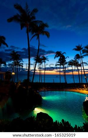 Maui, HI - April 22, 2008 - The Westin Resort at sunset on the island of Maui in Hawaii, USA - stock photo