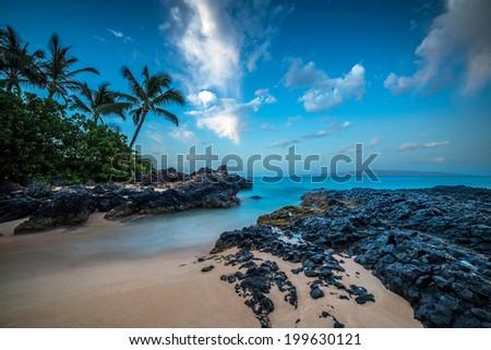 Maui's Secret Cove under the Stars - stock photo