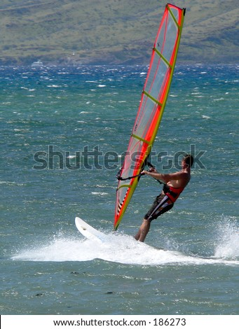 Maui windsurfer on the west shore.