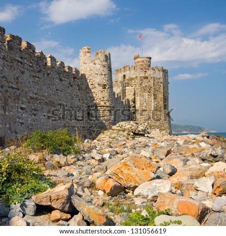 Maumere fortress and sea near Anamur, Turkey - stock photo