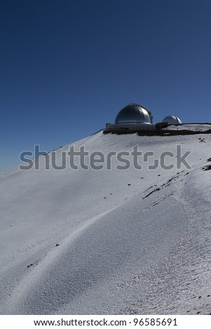 Mauna Kea Observatory on the Big Island of Hawaii. - stock photo