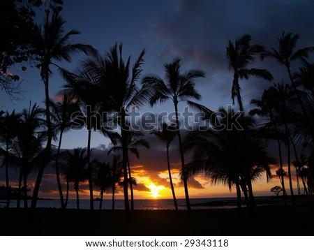 Mauna Lani Sunset - stock photo