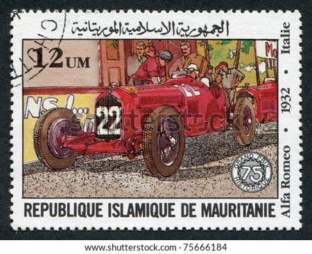 MAURITANIA-CIRCA 1982: Postage stamps printed in the Islamic Republic of Mauritania, dedicated to the 75th anniversary of the Grand Prix of France, depicts Alfa-Romeo, Italy, circa 1982