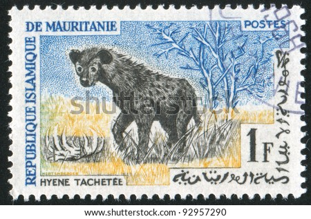 MAURITANIA - CIRCA 1963: stamp printed by Mauritania, shows Spotted Hyena, circa 1963