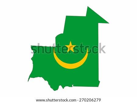 mauritania country flag map shape national symbol - stock photo