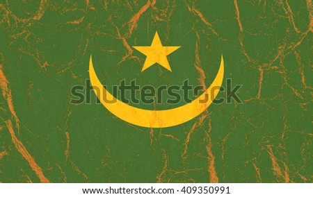 Mauritania flag painted on crumpled paper background