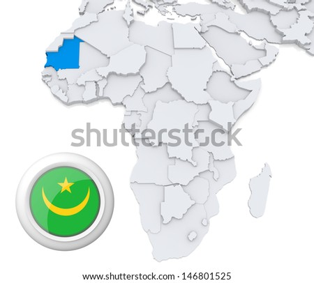 Mauritania with national flag - stock photo